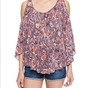 Free people purple paisley off the shoulder tee